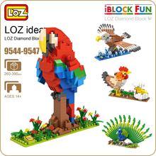 LOZ Diamante Blocos Figuras Brinquedos Frango Papagaio Birds Animais Pavão Águia Modelo de Blocos de Construção de Brinquedos De Montagem de Plástico 9544-9547
