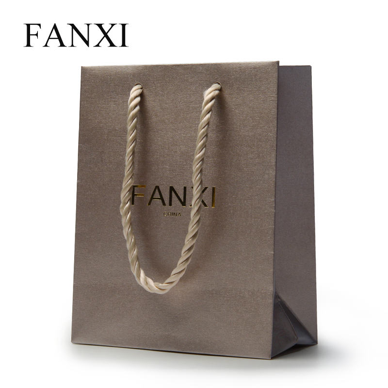 FANXI 12pcs Free shipping Brown Color High Quality Paper bags Jewelry Packing bags holiday Wedding Gift Bags hand bags Organizer