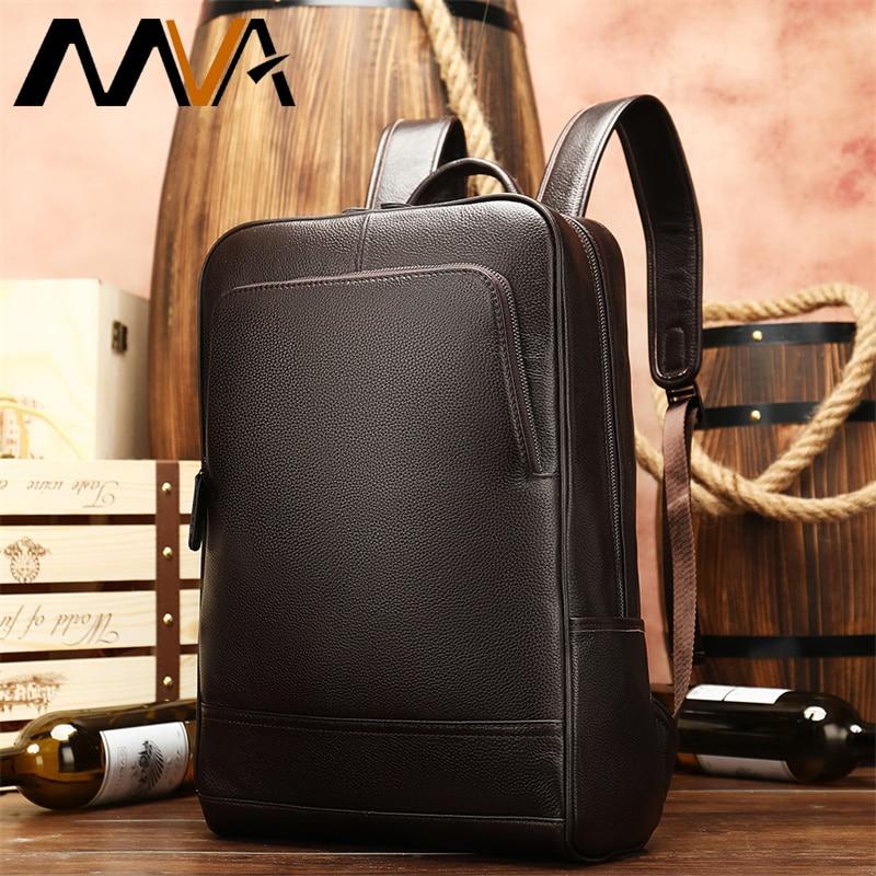 Деловые мужские рюкзаки для путешествий, водонепроницаемый тонкий рюкзак для ноутбука, Мужская школьная сумка для книг, офисный кожаный рюкзак, большая сумка для мужчин 8110