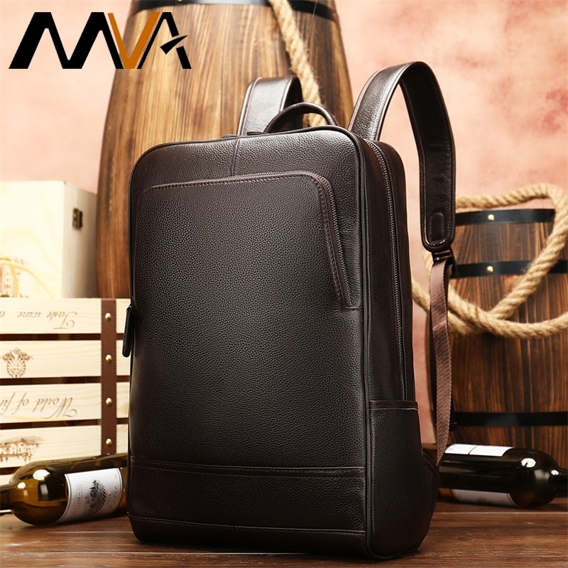 MVA Men Backpacks Genuine Leather School Laptop Backpack Waterproof Slim Backpack Travel Teenager Backpack Bag Male Bagpack 8110