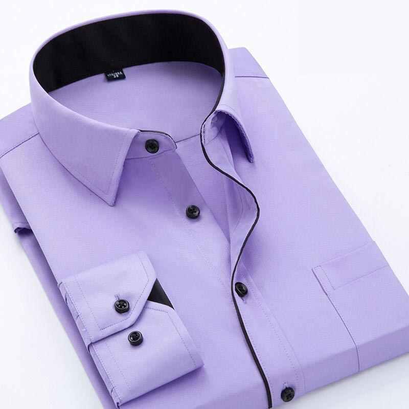 2020 moda męska Casual koszula na długi rękaw z nadrukiem Slim Fit męska formalna sukienka biznesowa koszula marka mężczyźni odzież miękka wygodna