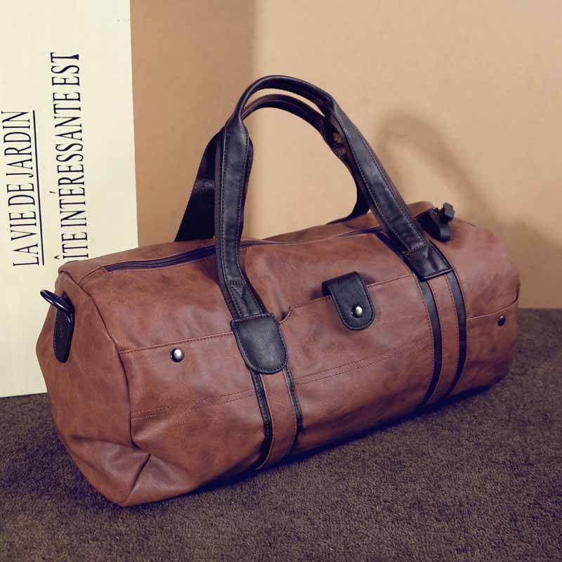 Men Vintage Retro Leather Travel Bags Hand Luggage Overnight Bag Fashionable Designers Large Duffle Weekend In From On