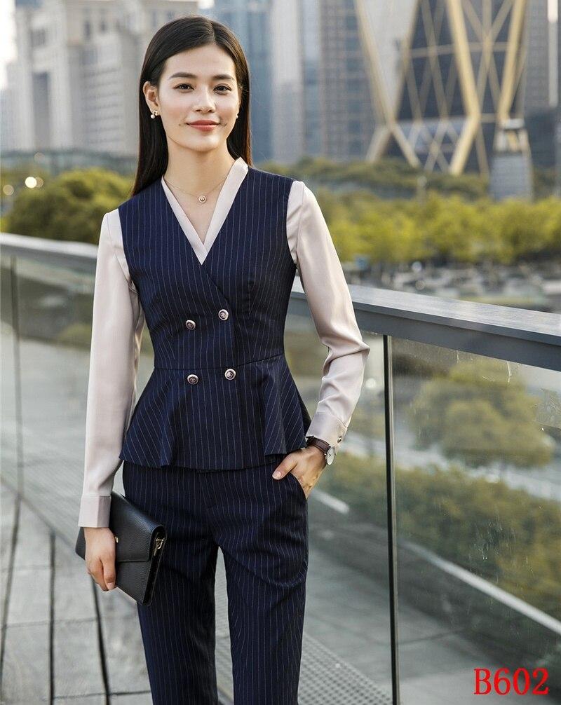 Conceptions Nouveau Et Bureau Styles Femmes Uniformes Top De Mode Marine Pantalon Dames 2019 Ensembles Avec Gilet D'affaires Costumes Bleu prwqZp0x