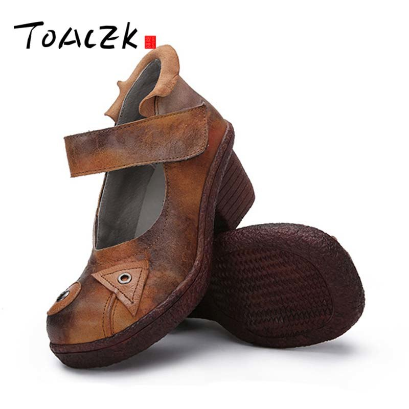 new retro round head high heels increased shockabsorption breathable wear resistant leather western style wedges women