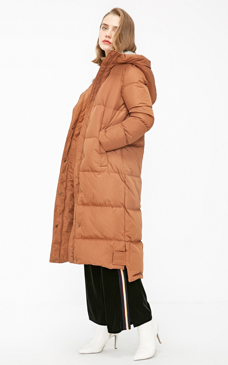Vero Moda new detachable rabbit fur hooded long down jacket women | 318312503 11