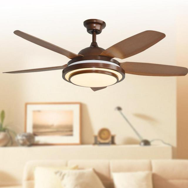 Retro decorative ceiling led ceiling fan with lights remote control 110 240 volt fan light