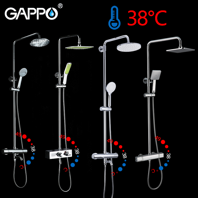 GAPPO thermostatic shower faucet chrome color bathroom bath shower mixer set waterfall rain shower head bathtub faucet taps