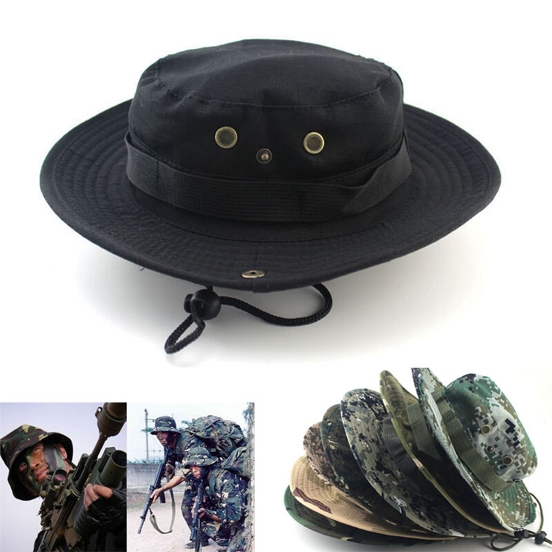 7701556245114 brand outdoor activities Military Fishing Bucket Cap Camping Hiking Wide  Brim Camouflage Sun Hat