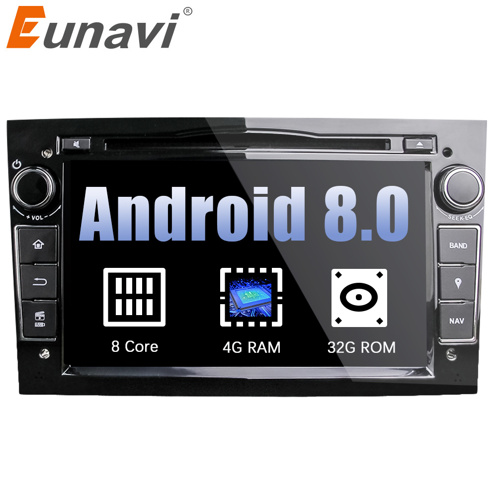Eunavi Octa Core 7'' 2 Din Android 8.0 1024*600 HD Car DVD Player For Opel Astra Vectra Antara Zafira Corsa GPS Navigation Radio android 7 1 2g ram 1024 600 7 car dvd player gps navigation for opel astra j vauxhall astra 2010 2011 2012 2013 with can bus 4g