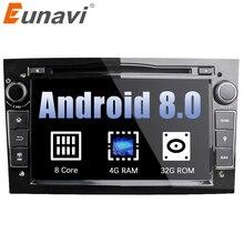 """Eunavi Octa Core 7 """"2 Din Android 8,0*1024*600 HD reproductor de DVD de coche para Opel Astra Vectra antara Zafira Corsa navegación GPS Radio"""