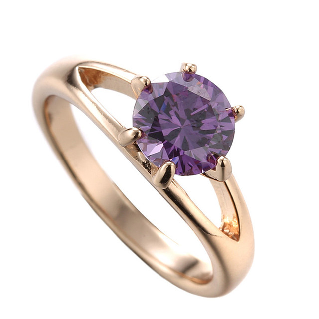 Nice Women 18k Gold Filled Finger Rings with Purple Stone Cubic