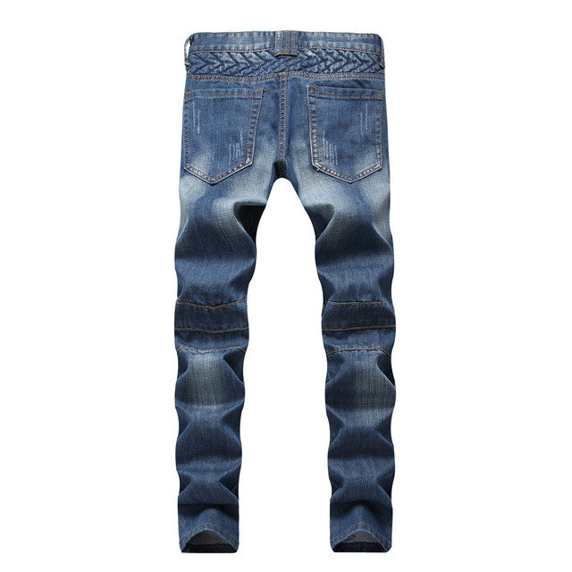2018 Summer new men's ripped jeans straight trousers male biker fashion designer slim fit solid pleated plus size fake zippers