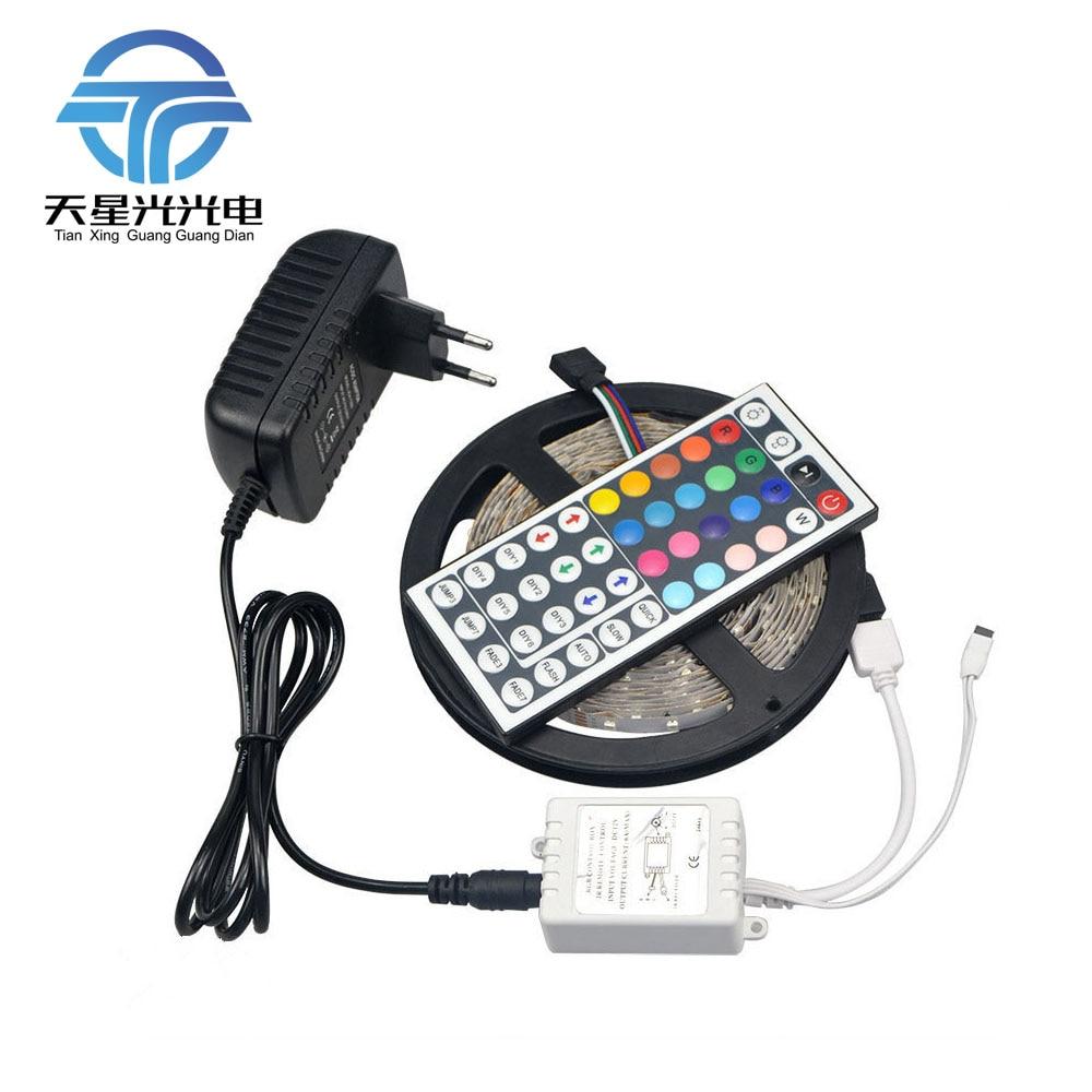 TXG 5M RGB 2835 SMD Flexible LED Strip light 60LEDs/M 44Key IR Remote DC12V 3A Power Adapter Home Indoor decoration lamp Tape