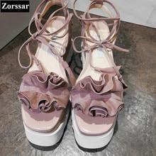 2017 NOUVELLE GRANDE TAILLE 33-42 D'été Femmes chaussures compensées talons plate-forme Sandales Mode Ruches Casual femmes creeper chaussures