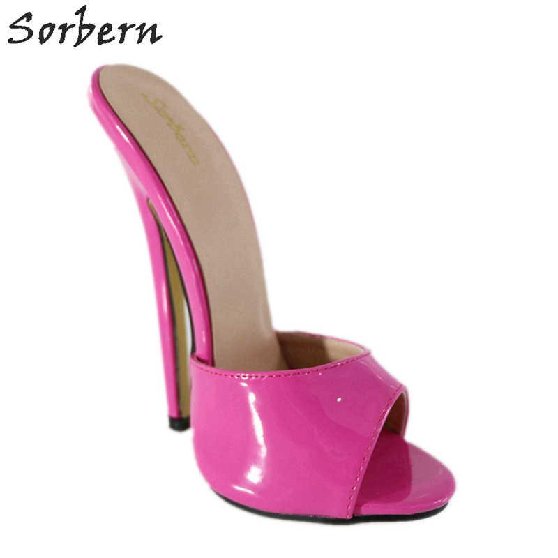 979385775d Sorbern Peach Open Toe Slippers Women Shiny Ultra High Heels Slides Ladies  Mules Shoes Women Designer