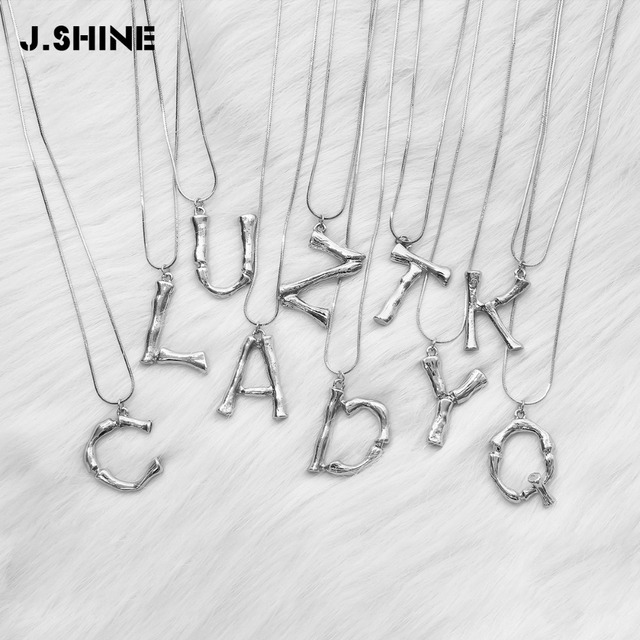 jshine silver color 26 lava alphabet pendant necklace free combination initial big letter necklace women statement jewelry a zus 170