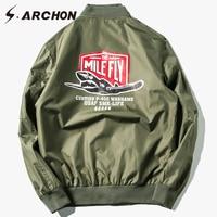 S. ARCHON нам MA1 Air Force Airborne куртка-бомбер Куртки Для мужчин печати ветровка Военная Униформа Армия Пилот куртка Тактический полет Куртки