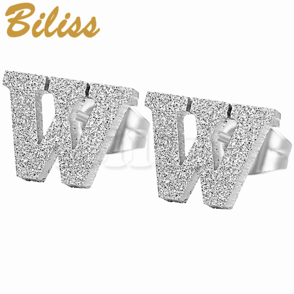 Fashion Silver 26 Letters Charm Frosted Initial Letter Stud Earrings Stainless Steel Women Men Jewelry aretes de mujer