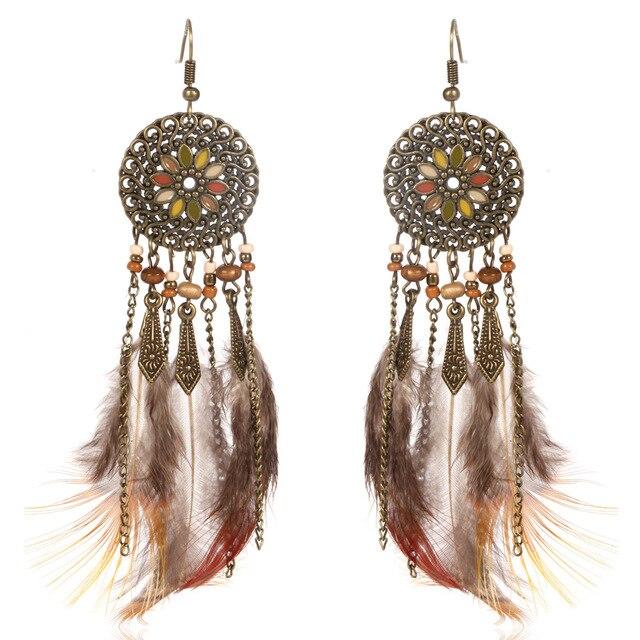 Fashion Long Drop Feather Earrings Bohemia Women S Tel Boho Dreamcatcher For Brincos