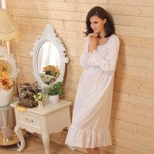 White Long Sleeve Long Nightgown Long White Nightgown Vintage Nightdress for Women Cotton Sleepwear
