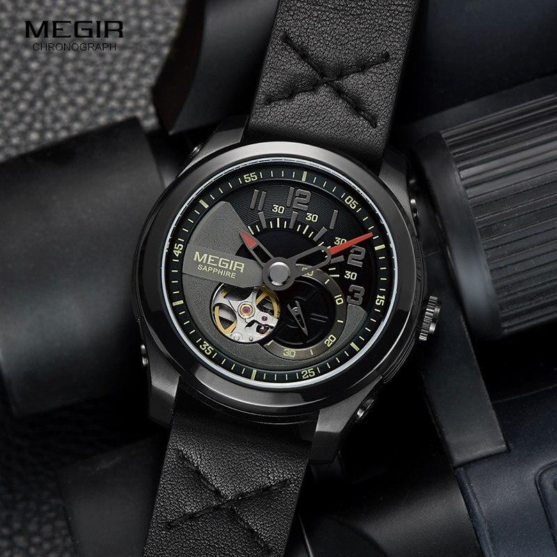 Männer Hand Wind Mechanische Handgelenk Uhren Lederband Armee Sport Uhr Casual Skeleton Uhr Relogios Masculino 62050G BK 1-in Mechanische Uhren aus Uhren bei  Gruppe 1