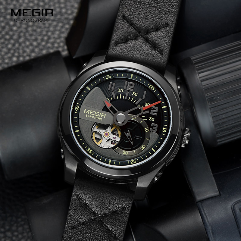 Men's Hand Wind Mechanical Wrist Watches Leather Strap Army Sports Watch Casual Skeleton Clock Relogios Masculino 62050G-BK-1 t winner luxury brand skeleton mechanical hand wind watch men casual sports leather strap gold fashion clock relogios masculino