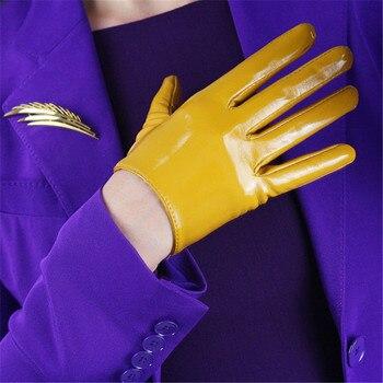 16cm Patent Leather Short Gloves Emulation Leather Mirror Bright Leather PU Leather Bright Ginger Yellow Bright Yellow WPU120 bright