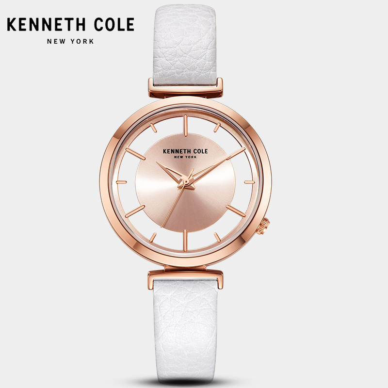 2018 New Kenneth Cole Womens Watches See-through Quartz Leather Buckle Strap White Pink Waterproof Luxury Brand Watch KC50232003 цена и фото