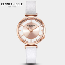 2018 New Kenneth Cole Womens Watches See-through Quartz Leather Buckle Strap White Pink Waterproof Luxury Brand Watch KC50232003 цена