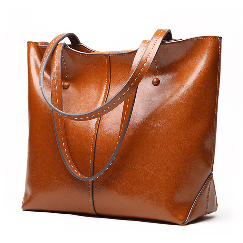 Luxury Genuine Leather Handbag Women bag Brand High-grade Oil Wax Cow Leather Shoulder bags Casual Tote Female Messenger bag 2018 luxury brand trapeze platinum bags designer women cow leather shoulder bag scrub genuine leather messenger bag casual tote