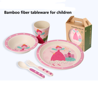 5pcs Set Dinnerware Character Baby Plate Bow Cup Forks Spoon Feeding Set 100 Bamboo Fiber Baby