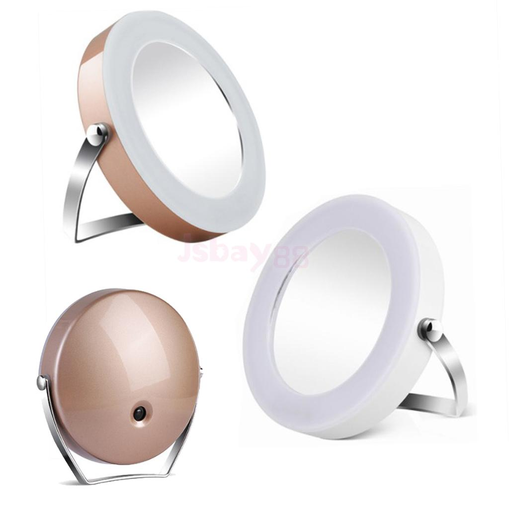 Silver Gold Desktop LED Lighted Mirror Cosmetic Makeup Shaving Grooming Magnifying 3X Mirror for Bathroom Travel