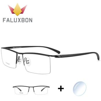 0f7d58ee7e Gafas de prescripción de aleación de titanio Semi sin montura para hombre  TR 90 gafas ópticas rectangulares 2019 gafas de miopía masculina de alta  calidad