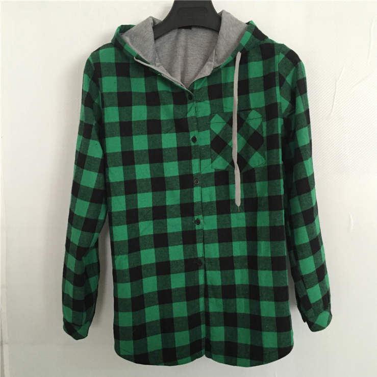 HZIJUE Women Casual Red Plaid Shirt Hooded Long Sleeve England Shirt Tops Men Harajuku Black Checkered Blouse Couple Clothes