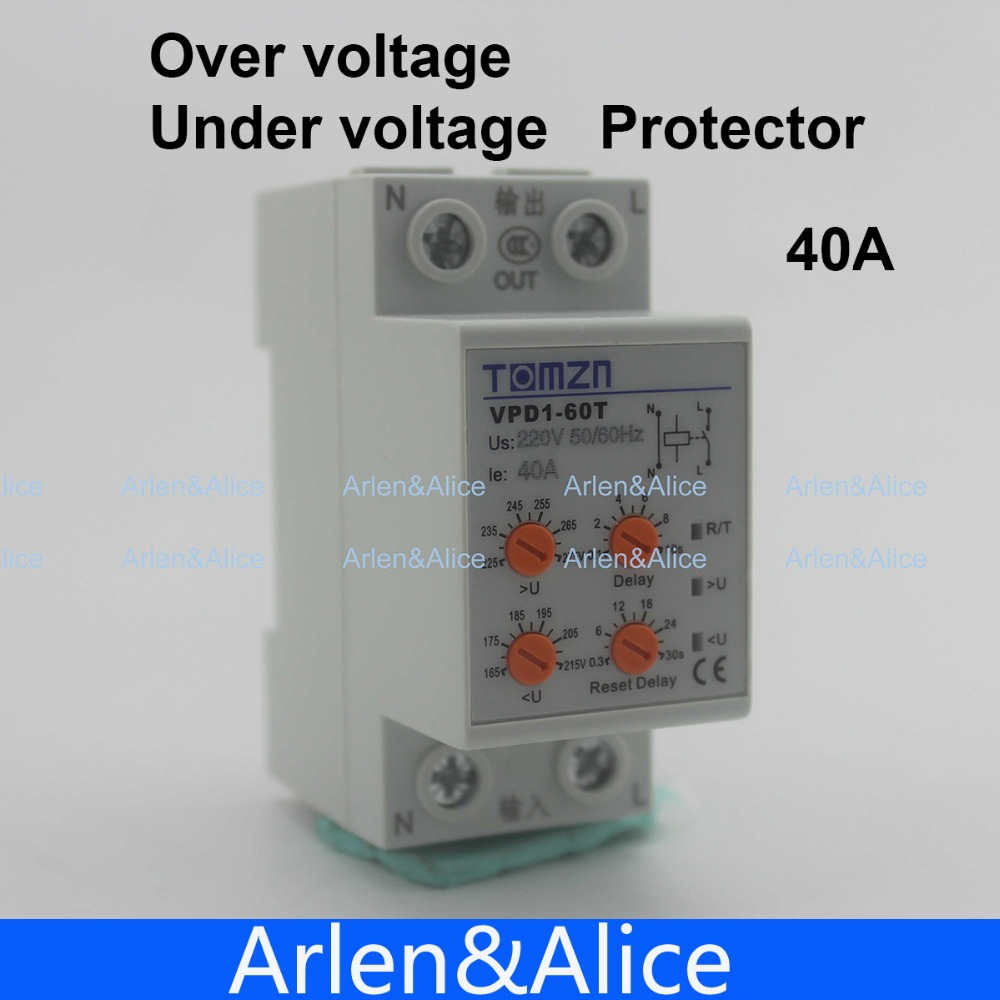 40A 220V  Din Rail Automatic Reconnect Over Voltage And Under Voltage Protection Protective Device Relay With Adjustable Button