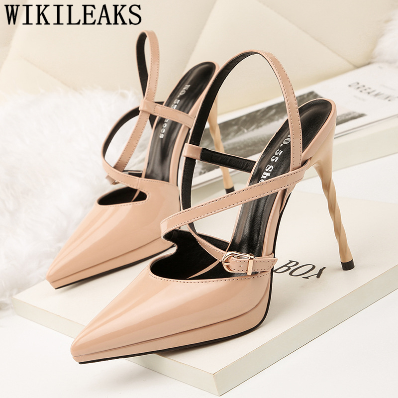 Extreme High Heel Sandals Stilettos Shoes For Women Pointed Toe High Heel Sexy Sandals Elegant Shoes Pumps Women Shoes Ayakkabi