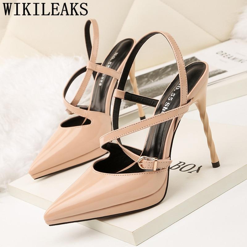 Extreme High Heel Sandals Stilettos Shoes For Women Pointed Toe High Heel Sexy Sandals Elegant Shoes Pumps Women Shoes Ayakkabi