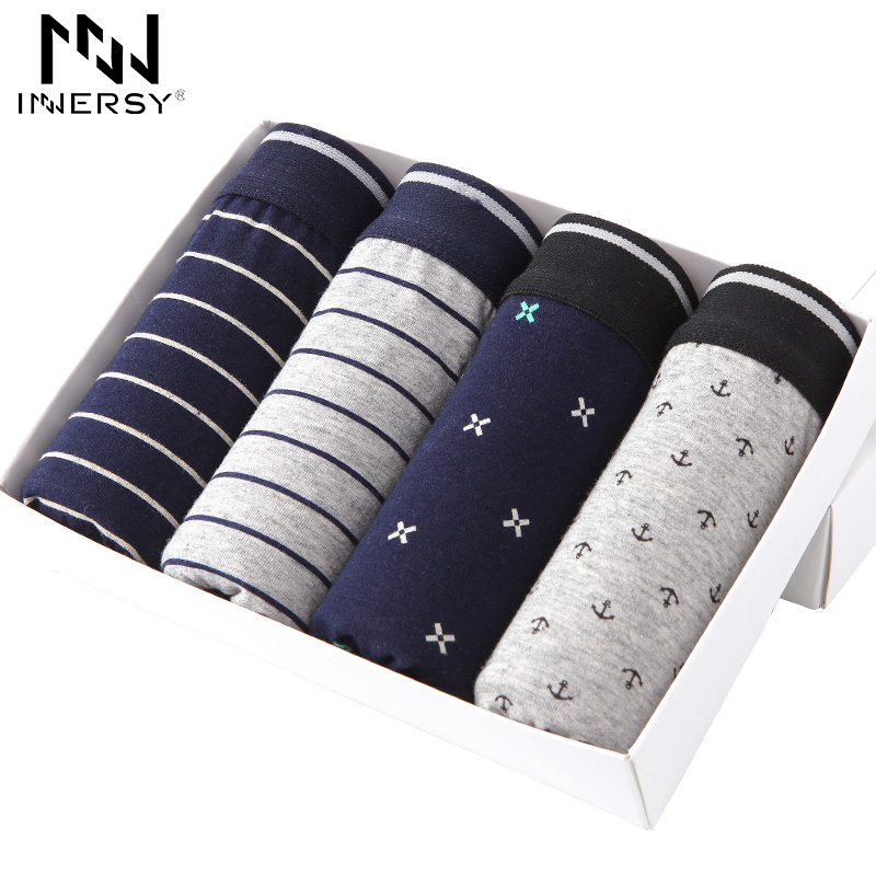 Innersy Shorts 4Pcs\lot Mens Underwear Boxers Cotton Breathable Men Printed