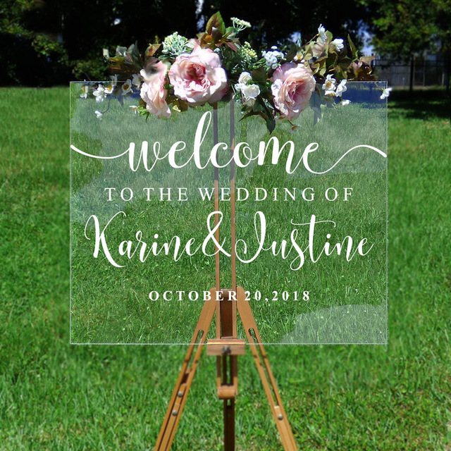 Wedding Welcome Mirror Vinyl Sticker Personalized Names And Date Wall Decal Wedding Party Decor Wedding Sign Vinyl Mural AJ551(China)