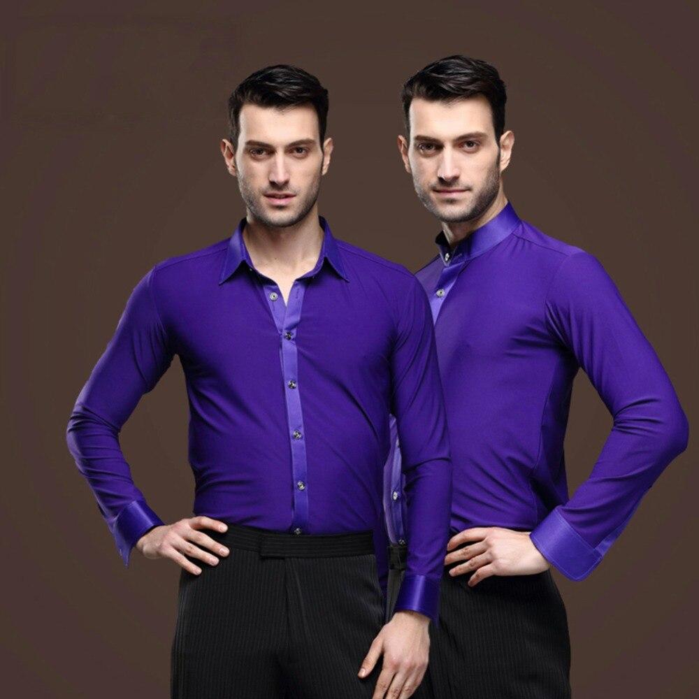 644f2cd5a5db8 Barato baile latino camisas para hombre manga larga tela Chacha Salsa Paso  buena calidad hombres ropa de baile de salón 7042 en Latina de La novedad y  de ...