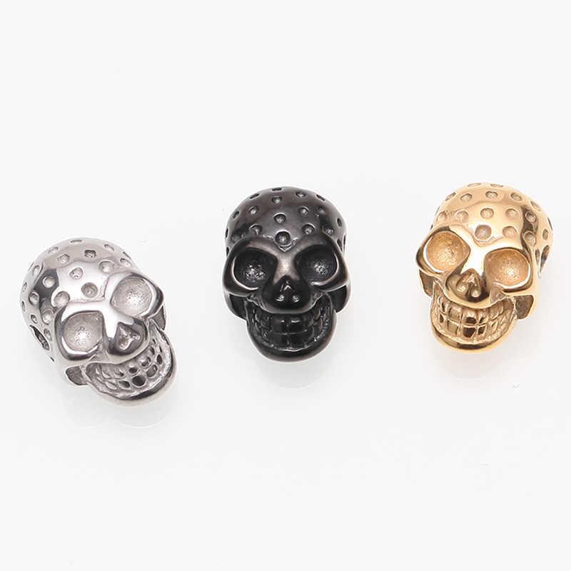 Ze stali nierdzewnej stalowe koraliki 1 sztuk DIY koraliki w kształcie czaszki dla człowieka charms bransoletki miedziowanie kralen tworzenia biżuterii diy zawieszka na sznurku
