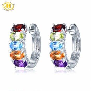 9d33eb61348e Hutang 5x3mm piedras preciosas pendientes de aro de amatista Natural  peridoto citrino granate 925 Plata de la joyería para las mujeres regalo de  Nuevo
