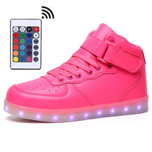 Remote Control LED Shoes Womens Pink Color High Top Shoes with USB Charging Lace Up Luminous Casual Neon Dancing Party Sneakers remote control luminous light up led shoes men footwear shoes male leisure neon casual shoes unisex fashion led usb charging