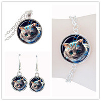 cat jewelery set cute kitten necklace and earring glass cabochon cat necklace silver chain charm bracelets women jewelry