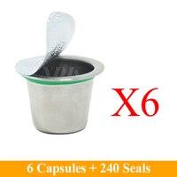 6 Cups Box Refillable Nespresso Coffee Capsule Stainless Steel Reusable Nespresso Coffee Capusle Nespresso Compatible Capsules