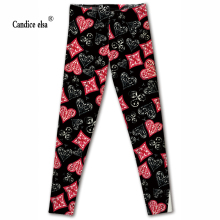 CANDICE ELSA leggings women workout female pants elastic fitness legging hearts print trousers plus size drop shipping леггинсы chrome hearts leggings