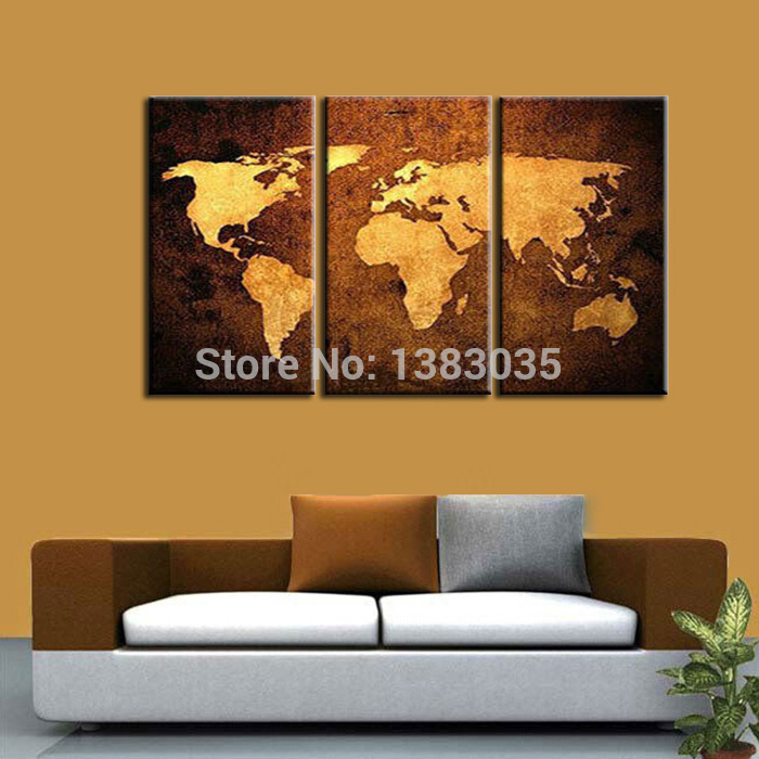 Hand Painted World Map Canvas Oil Painting Modern Abstract 3 Panel Wall Art Living Room Decoration Picture Set