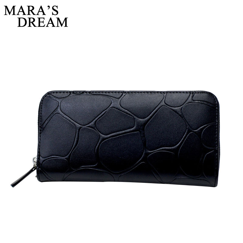 Mara's Dream 2018 New Women Leather Wallet Long Card Holder Big Stone Wallet Casual Clutch Zipper Coin Purse Cellphone ID Holder fashion women leather wallet female long card holder big stone wallets casual clutch zipper coin purse