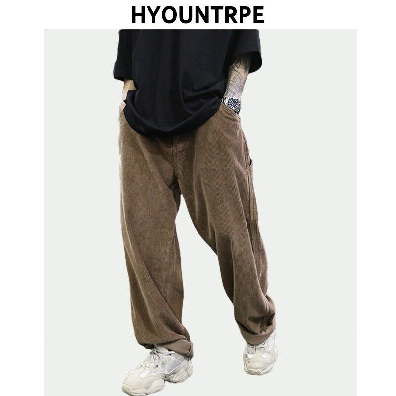 Retro Corduroy Wide Leg Pants Men's Fashion Straight Trouser Plus Size Rap Hip Hop Streetwear Men Casual Autumn Winter Long Pant