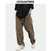 Retro Corduroy Wide Leg Pants Men's Fashion Straight Trouser Plus Size Rap Hip Hop Streetwear Men Casual Autumn Winter Long Pant